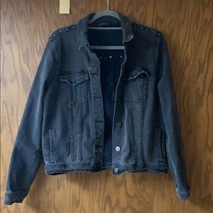 Black bejeweled jean jacket with butterfly
